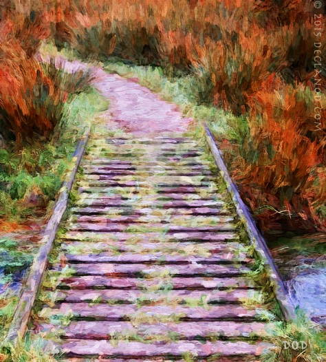 footbridge art painting painterly Kilmartin Glen Argyll Scotland textures